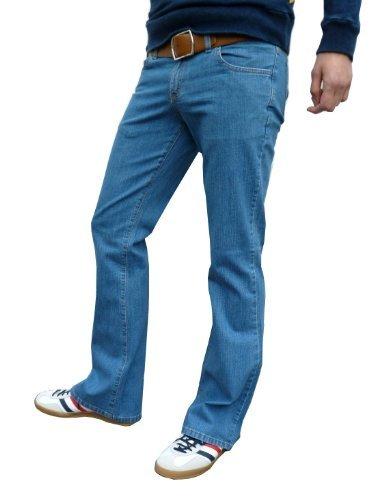 Herren Stein Gewaschen Blau Bootcut Ausgestellt Jeans Stonewashed Jeans