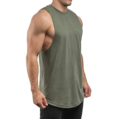 Sixlab Round Cut Off Tank Top Herren Muskelshirt Gym Fitness (L, Olive)