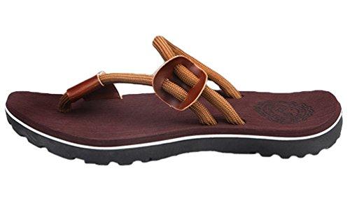 CHENGYANG Herren Sommer Zehentrenner Schuhe Strand Sandalen Indoor Outdoor Slipper Pantoletten Flip Flop Braun#1
