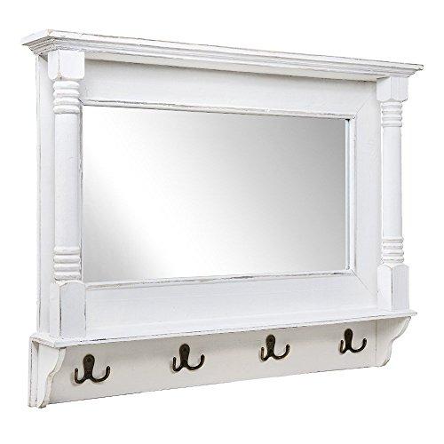 Wandspiegel SHABBY weiß verziert Spiegel mit Metallhaken Garderobe Landhaus