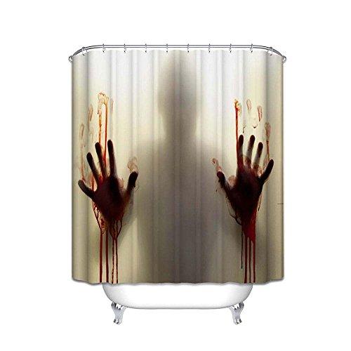 pawaca Halloween Bloody Vorhang für die Dusche, helfen Sie mir mit blutigen Hände Halloween Stoff, bedruckt mit Horror Scary Spooky Fließende Blut Badezimmer Dekor mit Haken 60