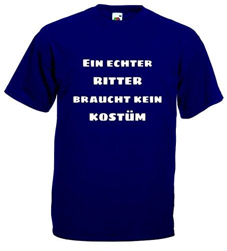 World-of-Shirt Herren T-Shirt EIN echter Ritter braucht kein Kostüm|blau-XXXL
