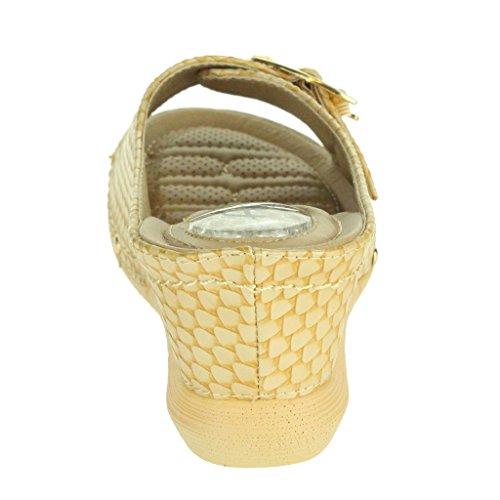 Donne Le Signore Dettaglio Fibbia Heel del tallone del gel Assorbimento di urti Casual Soft Scivolare su Comfort Tacco a cuneo Sandali Scarpe Taglie Beige