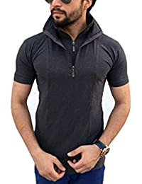 tees collection Men Half Zip Double Flap Cotton Half Sleeve T-Shirt