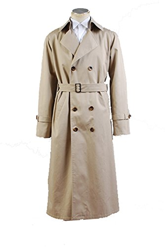 Supernatural Castiel Twill Trench Coat Cosplay Kostüm Herren (Kostüm Castiel Supernatural)