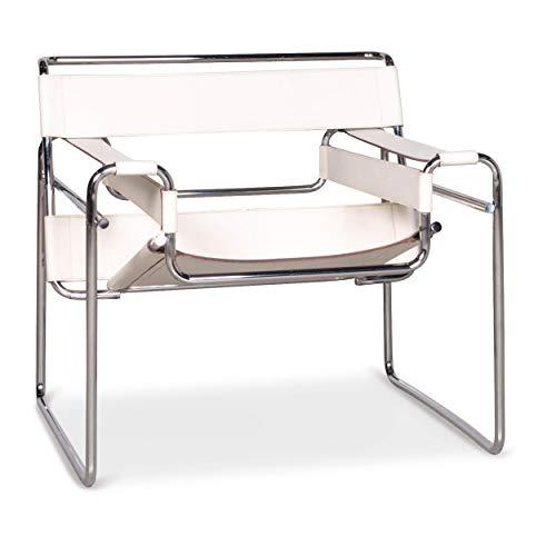 Knoll International Wassily Designer Leder Stuhl Creme Echtleder Sessel #7930 - Designer Leder Stühle