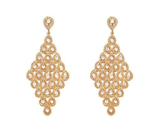 Vnox L'oro delle donne placcate Rhombic Reale elegante zirconi goccia ciondola lampadario orecchini per la regina