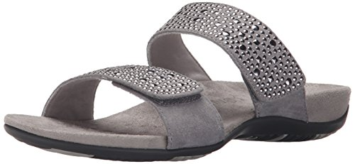 Vionic by Orthaheel Women's Samoa Pewter Leather Sandals 11 B(M) US pewter