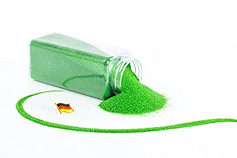 Sable coloré / sable décoratif TIMON, vert grenouille, 0,1-0,5 mm, bouteille de 605 ml, fabriqué en Allemagne - Sable fin décoratif - monsterkatz