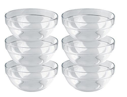 ie Empilable, Schüssel 20 cm, Glasschalen im 6-er Set, stapelbare Schüsseln in zeitlosem Design (Die Gläser Zum Verkauf)