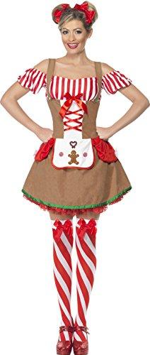 Smiffys, Damen Lebkuchen Kostüm, Kleid mit angesetzter Schürze, Größe: S, 23053