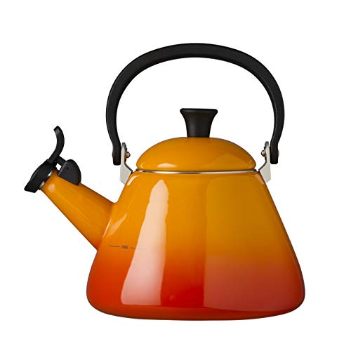 Le Creuset Kone Stove-Top Kettle with Whistle, Suitable for All Hob Types Including Induction and Cast Iron, Enamelled Steel, Capacity: 1.6 L, Volcanic, 92000200090000