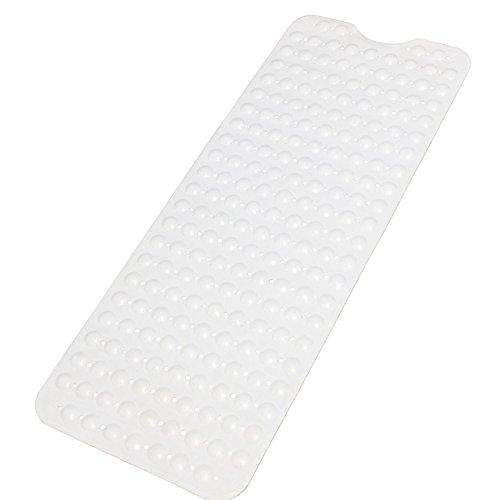 Grway Badewannenmatten Extralange TPR Rutschfeste Badewanneneinlage Badematte mit Saugnäpfen Badewanne Dusche Kinder 100*40cm (White)