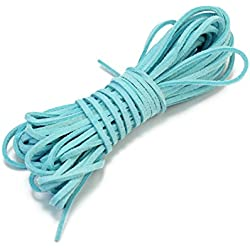 1 Rollo Cordón Cuerda De Cuero 2mm Azul Lago para Hacer Pulsera Brazalete DIY