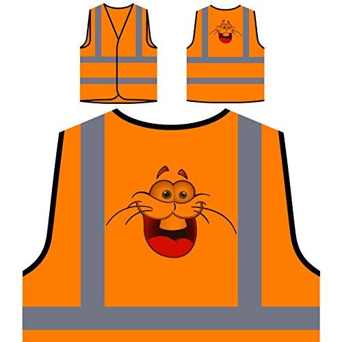 Smiley-Tier-Gesichts-Neuheit-lustige Vintage Kunst Personalisierte High Visibility Orange Sicherheitsjacke Weste a198vo