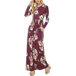 Vestidos Mujer Vestidos Largos Elegantes Con Manga Larga Cuello Redondo Vintage Flores Impresa Hippies Casual Niñas Otoño Invierno Vestidos Informales Vestidos Camiseros Vestido