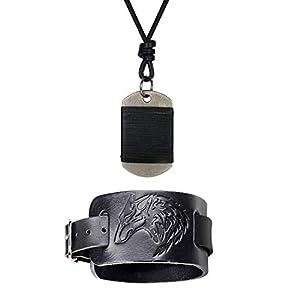 Cupimatch Herren Armband Kette Schwarz Breit Lederarmband Dog Tag Halskette Schmuck Set