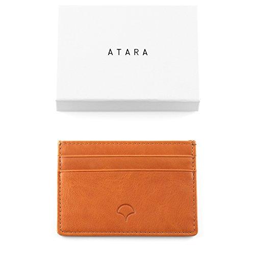 Kreditkartenetui aus Echtleder, Schwarz - RFID-Abschirmung, 5 Taschen, schlankes Design Orange
