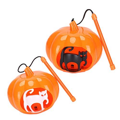 en Glowing Kürbislaterne Hollow Cat Portable Laterne mit Licht und Sound Trick or Treat Eimer für Halloween Party Supplies ()