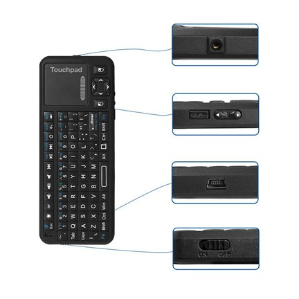 Rf Wireless-laser-pointer (iPazzPort™ Pro Mini 2.4Ghz RF Mini Wireless Keyboard with Backlight, Multi Touchpad and Laser Pointer KP-810-10A (German Keyboard Layout))