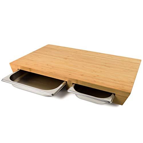 cleenbo® Schneidebrett Duo Style Bamboo, extra großes Profi Holz Küchenbrett XXL, Schneidbrett groß massiv aus geöltem Bambus mit 2 Edelstahl Auffangschalen, mit Zwei Schubladen, 57,5 x 35 x 6,5 cm