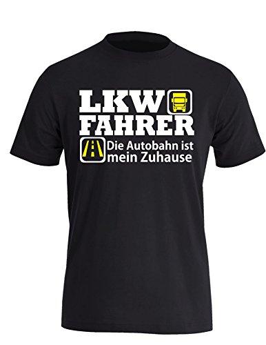 LKW Fahrer - Die Autobahn ist mein Zuhause - Perfektes Geschenk für Brummi Fahrer - Herren Rundhals T-Shirt Schwarz/Weiss-neongelb