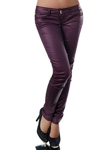 N803 Damen Jeans Hose Hüfthose Damenjeans Hüftjeans Röhrenjeans Leder-Optik, Größen:38 (M), Farben:Lila