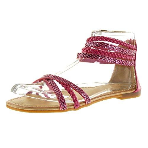 Angkorly - Damen Schuhe Sandalen - Glitzer - Multi-Zaum - Geflochten Blockabsatz 1 cm - Rosa CH-4 T 36