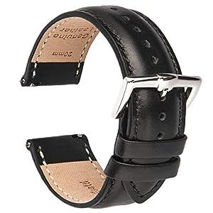 BRISMASSI ESETTI Schnellverschluß Uhrenarmbänder – Kalb Leder Armbänder für Herren & Damen im eleganten Stil Wählen Sie Farbe und Breite 16 18 19 20 21 22mm