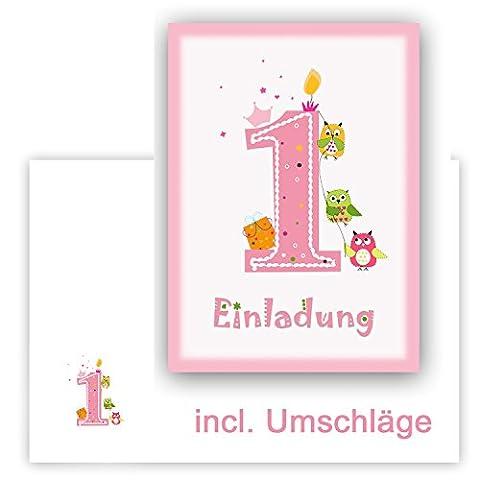 12 Einladungskarten Kindergeburtstag zum 1. Geburtstag in rosa mit Eulen, incl. passender Umschläge - Geburtstagseinladung mit Eule für Mädchen Kinder-Party - (1 Kindergeburtstag)