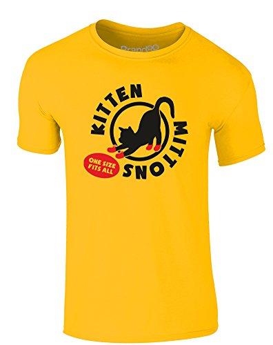 Brand88 - Kitten Mittons, Erwachsene Gedrucktes T-Shirt Gänseblümchen-Gelb/Schwarz