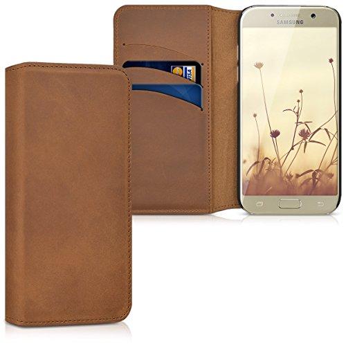 kalibri-Hlle-fr-Samsung-Galaxy-A5-2017-Wallet-Case-Handy-Schutzhlle-echtes-Leder-Klapphlle-Cover-mit-Kartenfach-und-Stnder-Cognac