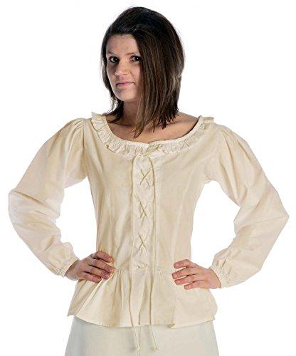 HEMAD Blusa medieval femenina - Encaje frontal y trasero - Algodón puro – L Beige