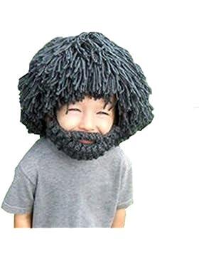 JT-Amigo Kinder Bartmütze Strickmütze mit Bart