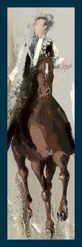Bild mit Rahmen Bernard Ott - Le cavalier - Digitaldruck - Holz blau, 30 x 90cm - Premiumqualität - Pferde, Reiter, People&Eros, Wohnzimmer - MADE IN GERMANY - ART-GALERIE-SHOPde -