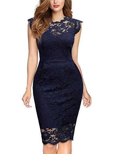 Miusol Damen Elegant Kleid Rundhals Knilanges Spitzenkleid Ball Stretch Abendkleider Navy Blau M