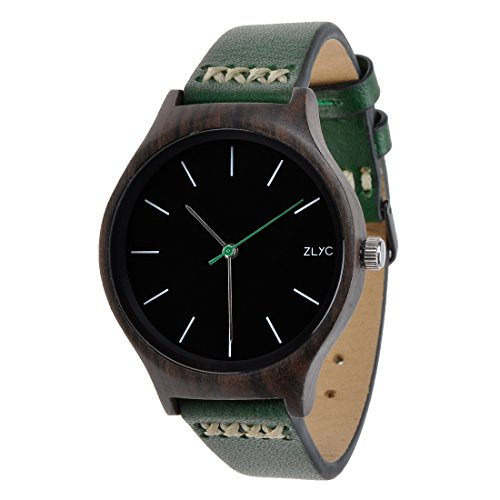 ZLYC Damen Original Design Handgefertigte Klassische Quarz-Armbanduhr aus Holz mit Rindslederarmband , Grün