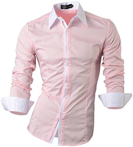 jeansian Herren Freizeit Hemden Shirt Tops Mode Langarmlig Men's Casual Dress Slim Fit Z029 1073_Pink