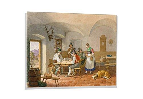 """Glasbild: Lorenzo Quaglio der Jüngere """"Kartenspielende Bauern"""", hochwertiges Wandbild, brillanter Kunst-Druck auf Echtglas, 100x70 cm"""
