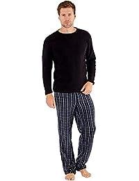 SaneShoppe Hombre Top Térmico, Forro Polar Pantalones Cálido Pijamas Juego - sintético, Negro, Grande-L