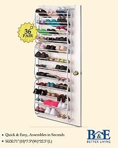 B&E Home Essential - Over-The-Door Shoe Rack Organizer - 36 Pairs