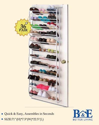 B & E Home Essential–Hakenleiste Schuhregal Organizer–36Paar