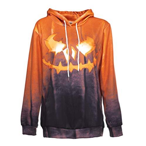 Halloween Kleidung Unisex Langarm Hoodies Sweatshirts Jack O 'Lantern Kürbis Gesicht Kostüm Tops,M