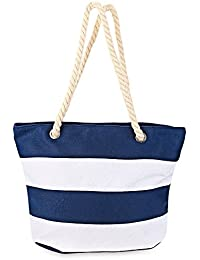Hannea Guapabien Large Capacity Casual Stripe Beach Canvas Tote Bag