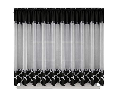 FKL Schöne Fertiggardine Fenstergardine Gardine aus Voile Leinen mit Faltenband Kräuselband Smokband Store marokanischer Still Klee 160x400 cm LB-129 (Schwarz)