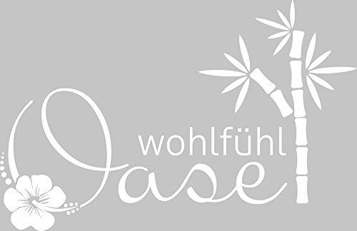 GRAZDesign 650273 Wandtattoo für Badezimmer Spruch Wohlfühl Oase | Wand-Aufkleber für Dein Bad und WC | Tür-Schild Wellness-Aufkleber | Auch für Spiegel – Fenster- Dusche Geeignet