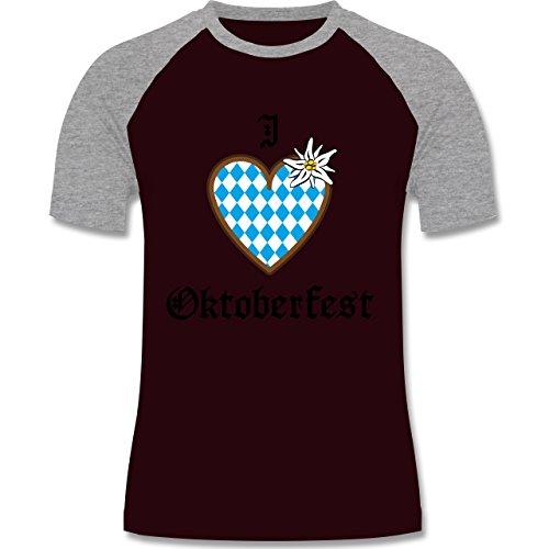 Oktoberfest Herren - Oktoberfest Love Edelweiß - zweifarbiges Baseballshirt für Männer Burgundrot/Grau meliert