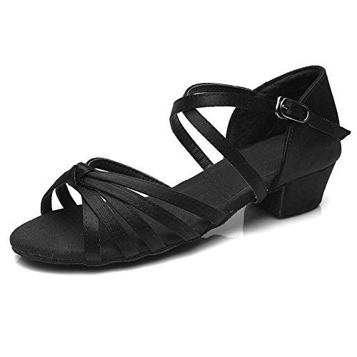 HIPPOSEUS Salle de bal Chaussures de danse/Standard Chuaussures de danse latines en satin pour Femmes & Filles,Maquette FR203