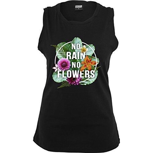 Statement Shirts - No Rain No Flowers - ärmelloses Damen T-Shirt mit Brusttasche Schwarz