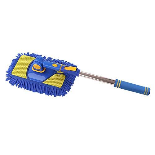 learnarmy Wischmop mit Rollwagen, Microfaser Chenille Flexible Griff Auto Clean Wash Mop Plus Handtuch KopfVersenkbare rotierende Bürste Auto-Reinigungswerkzeug (Blue Mop + Blue Kopf)